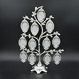 Fröhlicher Fotorahmen für Familienstammbaum für 12Fotos, Hochzeit, Geschenk, DIY-Bild-Metall-Bilderrahmen, Heim-Dekoration, Deko-Rahmen, silber, 2017IDEALMORE