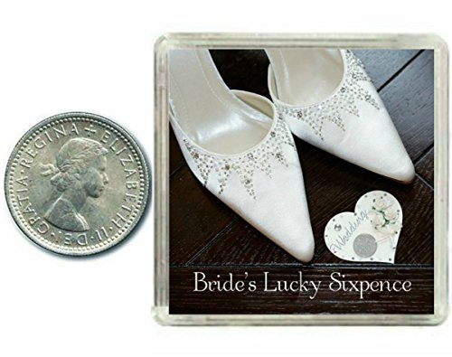 Price comparison product image Lucky Wedding Sixpence Coin for the Bride to Be & Traditional idea for The Bride Shoe. Fun Wife to Be Wedding Day Good Luck Keepsake Gift for Fiance, Daughter, Sister, Mum, Friend