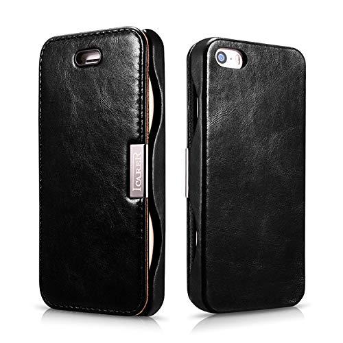 ICARER Tasche für Apple iPhone SE, iPhone 5S und iPhone 5 / Case Außenseite aus Echt-Leder/Innenseite aus Textil/Schutz-Hülle aufklappbar/Ultra-Slim Cover/Vintage Look/Schwarz (Flip 5s-leder Case Slim Iphone)