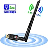 Auervo WLAN Stick, 1200Mbit/s WiFi Adapter, Dual Band 5.8GHz 866Mbps/2.4GHz 300Mbps USB WiFi Dongle mit 5dBi Antenne für Windows XP/ 7/8/ 8.1/10/ Vista, Mac OS X 10.4-10.12
