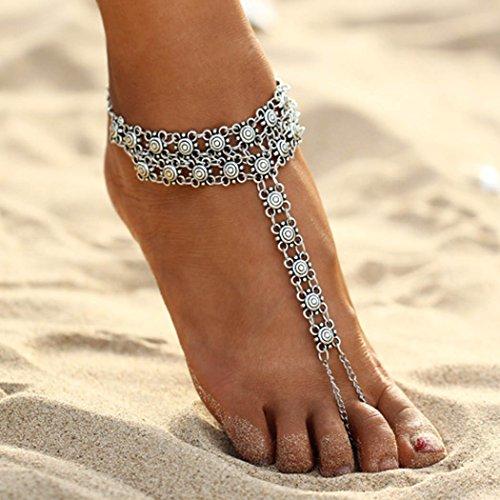 Simsly Charm Fußkettchen für Strand, für Damen und Mädchen (Silber)