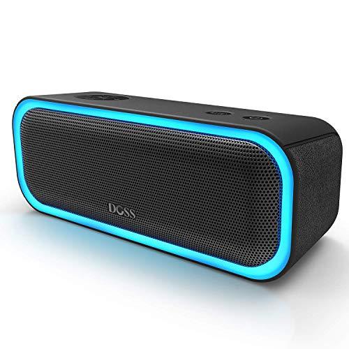 Enceinte Bluetooth Portable DOSS avec Effets Lumière, Haut-Parleur 20W sans Fil, Autonomie 12H, Technologie TWS,Port USB, Aux et SD,Compatible avec Téléphone Android iOS et Tablettes, Noir