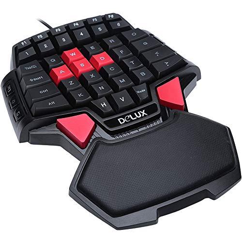 Guanwen Single-Hand-Gaming-Tastatur, Mini 47-Tasten Ergonomische Professional Esports Essen Chicken Handballenauflage Einhand-Tastatur für PC Laptop-Computer Hp Bluetooth Laptops