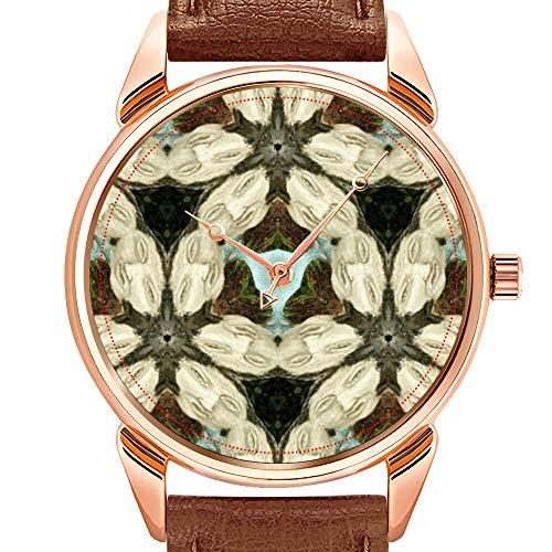 Herrenuhren Mode Quarzuhr Business wasserdicht leuchtende Uhr Männer braun Leder Uhr Stein Gesicht Kaleidoskop Armbanduhr