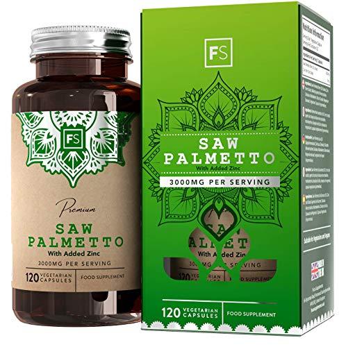 FS Saw Palmetto Sägepalmenextrakt, hochdosierte Kapseln [3000 mg] 20:1 Extrakt mit Zink - 120 vegane Kapseln | Für eine gesunde Prostata & hormonelles Gleichgewicht bei Männern - Ohne GVO & Milch -