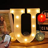 Lettera a LED con lettere dell'alfabeto e simbolo dell'alfabeto, con timer senza fili, telecomando, dimmerabile, decorazione a LED per compleanni, feste, matrimoni e vacanze, casa, bar (WHATOOK) u