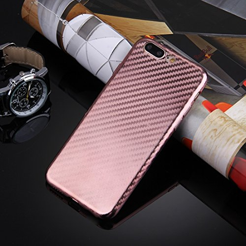 YAN Für iPhone 7 Plus künstlerische Carbon Faser Texture Soft TPU Schutzhülle Back Cover ( Color : Silver ) Rose gold