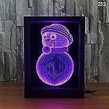 Luce Notturna 3D Illusione Ottica Pupazzo di Neve,3W Cornice per Foto lampade da Comodino 7 a Colori Telecomando Touch USB per Bambini cameretta Luci Bambini Compleanno Regal