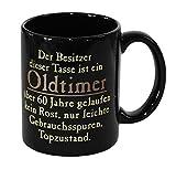 Close Up Oldtimer Tasse - 60 Jahre gelaufen, in Schwarz aus Keramik