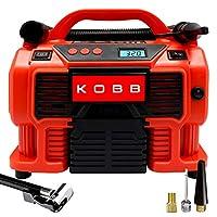 KOBB KB300 12Volt/220Volt 160 PSI Dijital Basınç Göstergeli Lastik & Yatak Şişirme Pompası, Kırmızı/Siyah