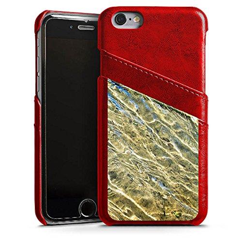 Apple iPhone X Silikon Hülle Case Schutzhülle Wasser Struktur Meer Leder Case Rubinrot
