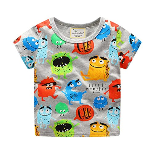KaloryWee Unisex Kids Boys Tops Pullover Sweater Blouse colorful Cartoon Monsters Printed Short Sleeve T Shirts Jumpers Sweatshirts Clothes 1 2 3 4 5 6 Years