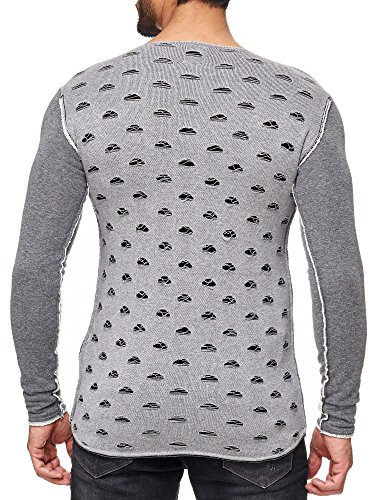 Red Bridge Herren Sweatshirt Langarm Pullover Ripped Holes Design Grau