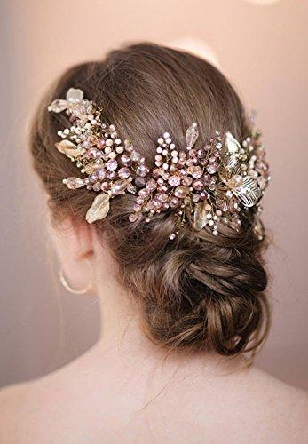 fxmimior Haarschmuck Zubehör natur Kristall Haarband Rosa rose gold leaf Haar Vine Swarovski Diadem Abend Party individuell Kranz Hochzeit Genickstück