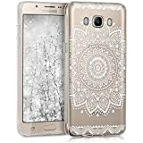 kwmobile Crystal Case Hülle für > Samsung Galaxy J5 (Version 2016) DUOS < aus TPU Silikon mit Blume Design - Schutzhülle Cover klar in Weiß Transparent