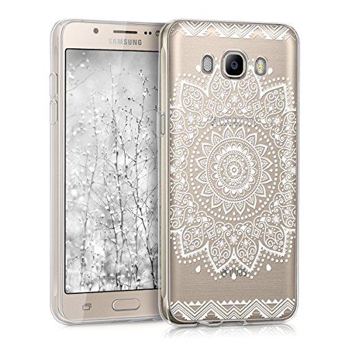 kwmobile Hülle für Samsung Galaxy J5 (2016) Duos - TPU Silikon Backcover Case Handy Schutzhülle - Cover Klar Blume Design Weiß Transparent