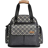 Lekebaby Expandable Nappy Changing Backpack Bag Messenger with Changing Mat, Grey