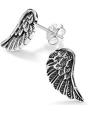Silvinity Damen Ohrringe Flügel Stecker - 925 Silber Ohrstecker Engelsflügel silber antik 15x9mm mit Box #SV-258