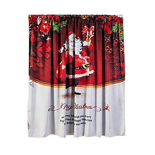 Wärmeisolierender Verdunkelungsvorhang Weihnachten Vorhänge Gardinen Curtains mit Ösen Schlafzimmer Vorhang Mit einzigartigen Szenen von Weihnachten Party Deko Zubehör