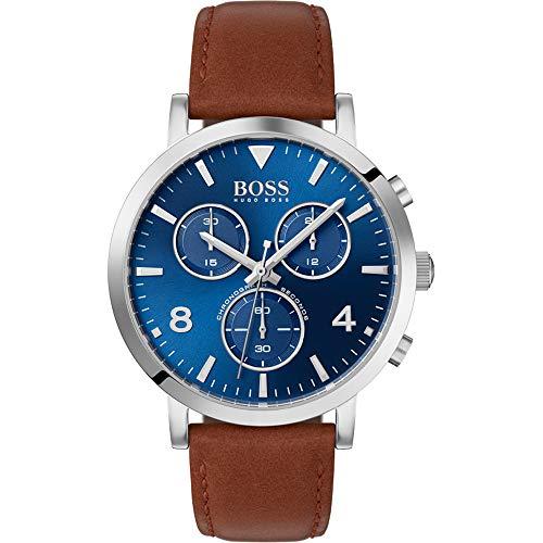 Hugo Boss Herren Chronograph Quarz Uhr mit Leder Armband 1513689 - Braun Leder Hugo Boss
