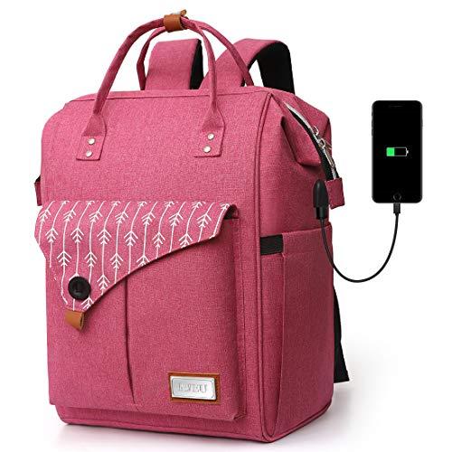 Rucksack Damen, Laptop Rucksack für 15.6 Zoll Laptop Schulrucksack mit USB Ladeanschluss für Arbeit Wandern Reisen Camping, für Mädchen, Oxford, 20-35L (H11-Purple)