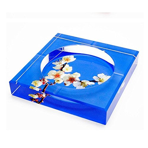 cendrier Xuan - worth having 3D Plum Blossom Square cristal Fashion Creative Gifts Accueil Décoration de salon (taille : 25*25*4.5cm)