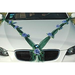 Organza M Auto Schmuck Braut Paar Rose Deko Dekoration Autoschmuck Hochzeit Car Auto Wedding Deko Girlande PKW (Blau…