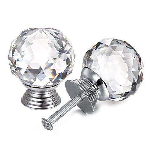 probrico 20 mm rund Glas Küche Schrank Knauf Diamant klar Möbel Schublade Schrank Griff Kristall Pull mit Schrauben 1 PCS