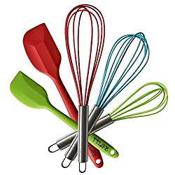 Kitchen Utensil Set, TTLIFE Stainless Steel Silicone Kitchen Utensils Cooking Set, Heat Resistant Nonstick - 3 Silicone Whisk Set and 2 Silicone Spatula Set for Blending, Whisking, Beating & Stirring