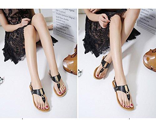 Minetom Donna Ragazze Estate Sandali T-Strap Scarpe Di Fibbia In Metallo Con Cinghia Infradito Tallone Piano Spiaggia Nero