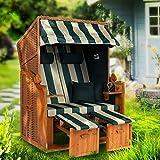 Möbelcreative Strandkorb Ostsee XXL Volllieger 2 Sitzer - 120 cm breit - grün weiß gestreift inklusive Schutzhülle, ideal für Garten und Terrasse -