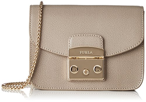 FURLA Damen Urban sprawl Mini Crossbody Business Tasche, Braun (Sabbia B), 8x12x17 cm