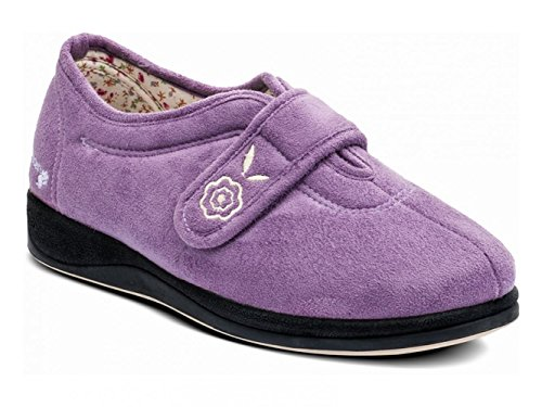 Padders Camilla donna extra largo (EE) in velcro pantofole lavanda Lavender