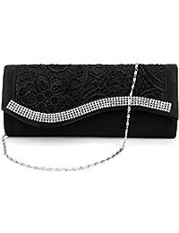 Bolso Fiesta de Mano para Mujer de Encaje Brillante con Diamantes Color Negro