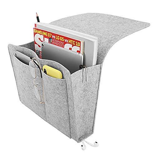 Moko organizzatore portaoggetti letto, borsa feltro morbido da appendere portaoggetti da letto divano scrivania sedia con tasca per rivista telefono tablet - grigio