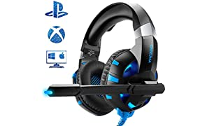 Cuffie Gaming per PC/PS4/Xbox One, Comodi altoparlanti da 50mm, Cancellazione del rumore esterno, Microfono flessibile, Illuminazione Blu a LED
