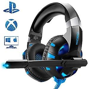 Gaming Headset für Xbox One PS4 PC mit Mikrofon LED Regler Licht Kopfbügel Einstellbar Stereo Headset Gaming Headset mit Granatlautsprecher 50mm / Stimmung (schwarz/blau)