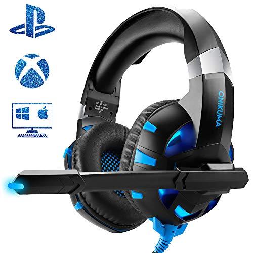 Cuffie gaming per pc/ps4/xbox one, comodi altoparlanti da 50mm, cancellazione del rumore esterno, microfono flessibile, illuminazione blu a led