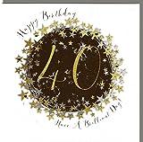 Wendy Jones-Blackett Glückwunschkarte zum runden 40. Geburtstag veredelt mit Kristallen und Glitter. Eine sehr hochwertige und originelle Geburtstagskarte, auch für Geschenkgutschein oder Geldgeschenk. WP093