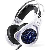 NUOXI N1 Gaming cuffie, Wired Stereo Sound su-Ear Cuffie con microfono a LED Illuminazione per Computer Games