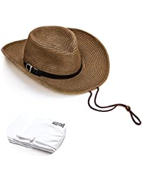 c8e24f51891 Quality Cowboy Sun Straw Hat Outdoor Beach Travel Hat Wide Brim with  Lanyard Foldable for Men