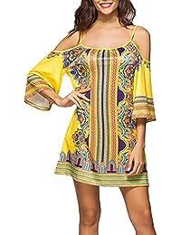 Vestiti Donna Eleganti Corti Estivi Stampati Fiori Geometria Bohemian  Etnico Spiaggia Abiti Maniche Corte Senza Spalline 0af160c682e