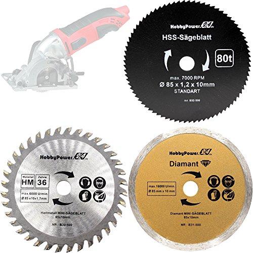 3 Stück Sägeblätter Mini Handkreissäge HM Holz HSS Kunststoff/Diamant Trennscheiben Fliesen 85 x 10 mm für Matrix MCS 500-1