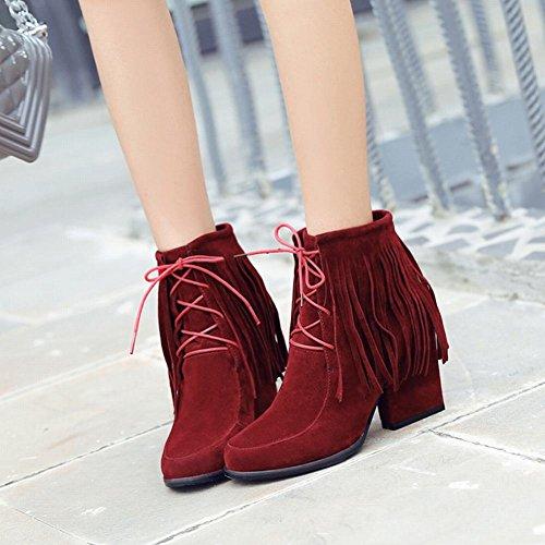 Mee Shoes Damen chunky heels Nubukleder kurzschaft Stiefel Rot