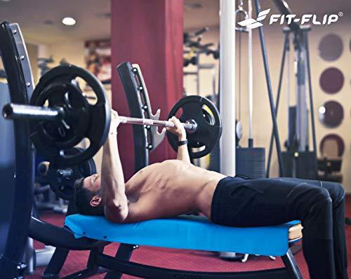 3-tlg Fitness-Handtuch Set mit Reißverschluss Fach + Magnetclip + extra Sporthandtuch   zum Patent angemeldetes Multifunktionshandtuch, Fit-Flip Microfaser Handtuch (gelb) - 7