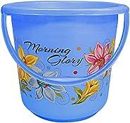 Kuber Industries Floral Print Unbreakable Strong Plastic Bathroom Bucket 16 LTR (Blue) -CTKTC34862