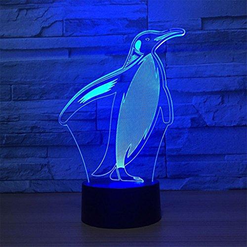 LT&NT 3D Lampes Illusions optiques, Pingouin Nuit lumière Table Lampes de Bureau Couleurs Lampe 7 LED Touch Base changent USB câble Kids Enfants Incroyables Cadeaux décoration de noël -Toucher