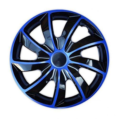 Enjoliveurs QUAD BICOLOR BLEUES compatible - Mitsubischi - Nissan - Opel - Peugeot - 4pcs (14