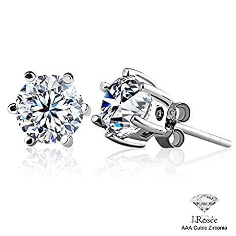 J.Rosee Earrings Studs 925 Sterling Silver 3A Round Cut Cubic Zirconia for Women 6 MM