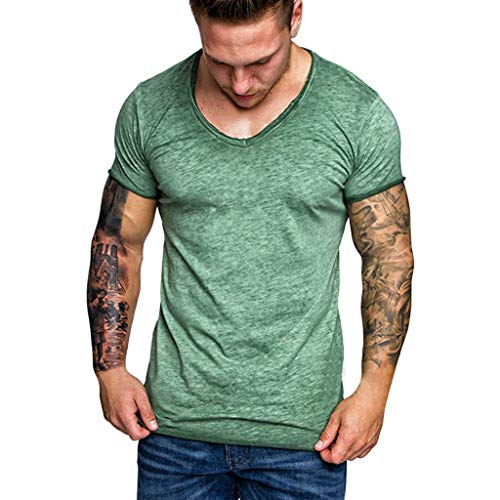 MRULIC Herren Casual Camouflage Print Patchwork O Neck Pullover T-Shirt Top Bluse